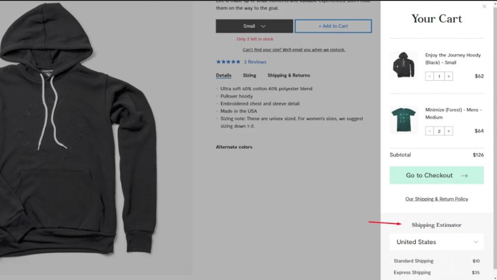 User experience Shipping Estimator