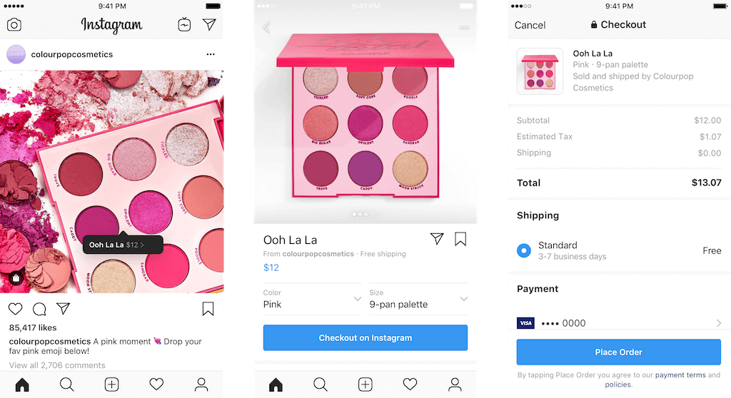 Instagram for shopping checkout feature